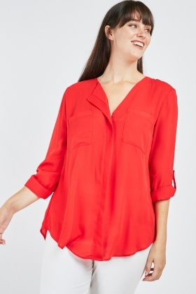 Sheer Twin Pocket Front Blouse