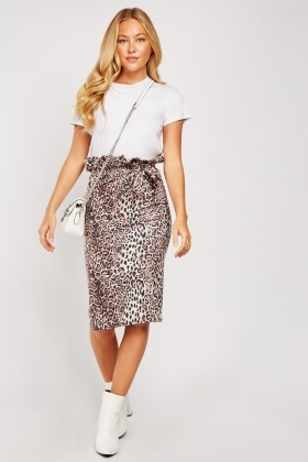Leopard Print High Waisted Skirt