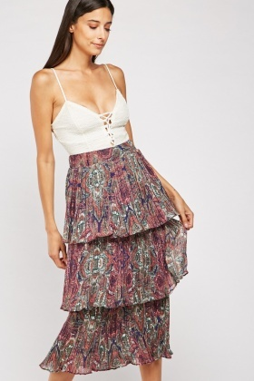 Paisley Print Pleated Tiered Skirt