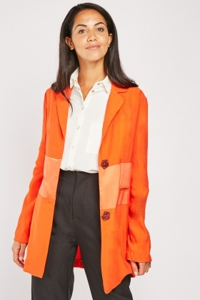Sateen Panel Long Line Blazer