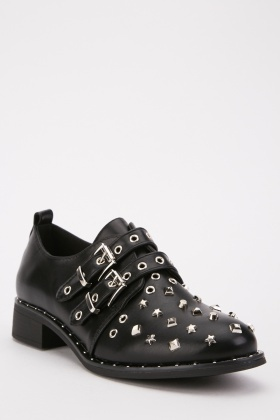 Studded Double Buckle Strap Boots