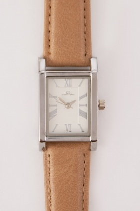 Faux Leather Rectangle Face Watch