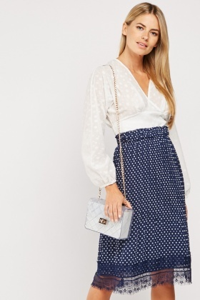 Lace Hem Polka Dot Skirt