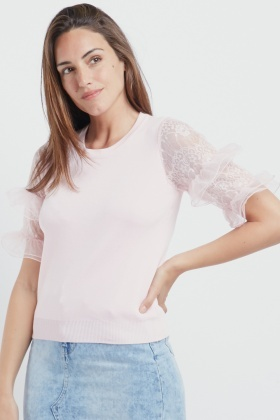 Knitted Contrast Frill Sleeve Top