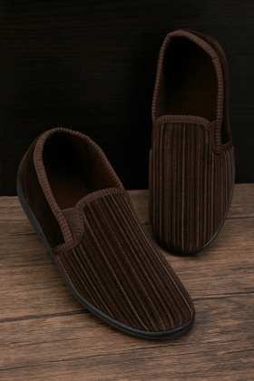 Men's Stitched Velveteen Slippers