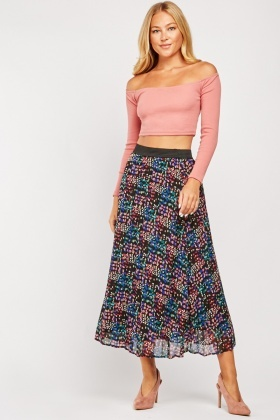 Scattered Print High Waisted Skirt