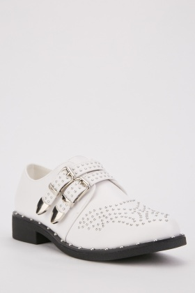 Twin Buckle Strap Studded Oxford Shoes
