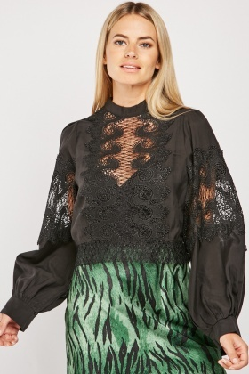 Crochet Sheer Panel Blouse
