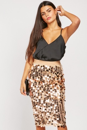 Disco Sequin Embellished Midi Skirt