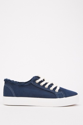 Raw Edge Lace Up Trainers