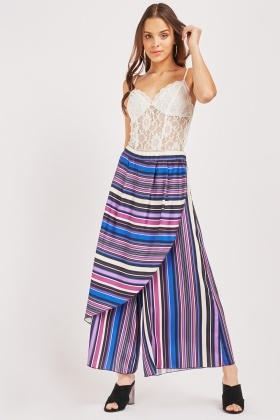Striped Overlay Wide Trousers