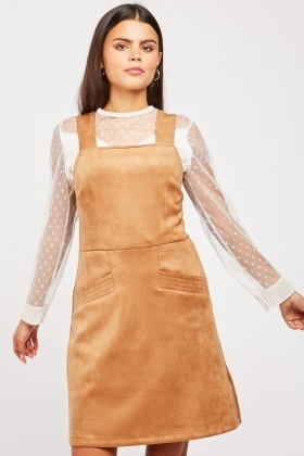 Faux Suede Pinafore Dress