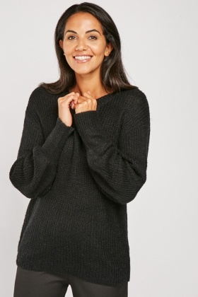 Herringbone Knit V-Neck Jumper