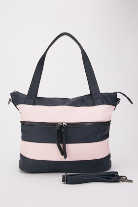 Striped Contrasted Tote Bag