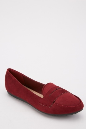Front Detail Suedette Loafers