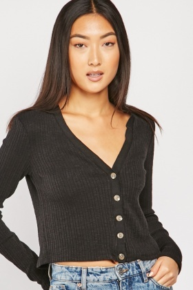 Button Front Crop Ribbed Cardigan