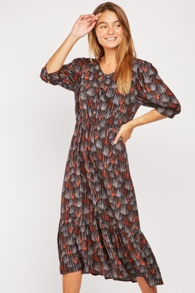 Fan Printed Midi Dress