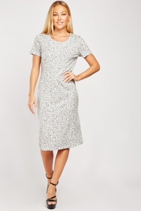 Patterned Scoop Neck Dress