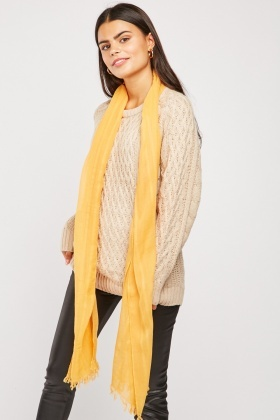 Sheer Raw Edge Cotton Scarf