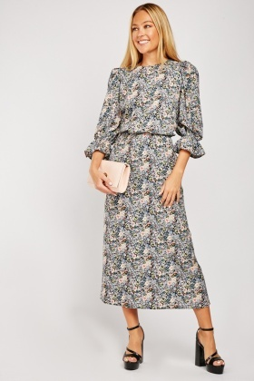 Bell Sleeve Floral Midi Dress