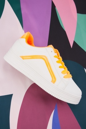 Colour Block Lace Up Trainers