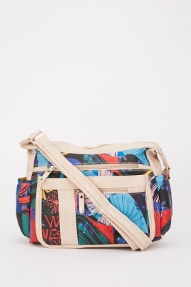 Mixed Print Cross-Body Bag