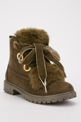 lace up boots with fur trim