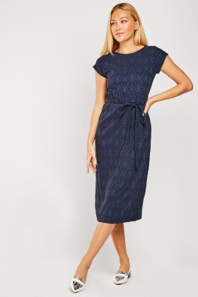 Patterned Navy Midi Dress