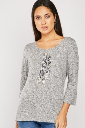 Sequin Feather Front Knit Top