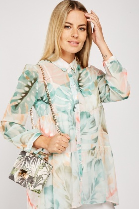 Sheer Tropical Print Tiered Shirt