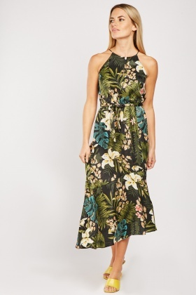 Tropical Jungle Print Ruffle Dress