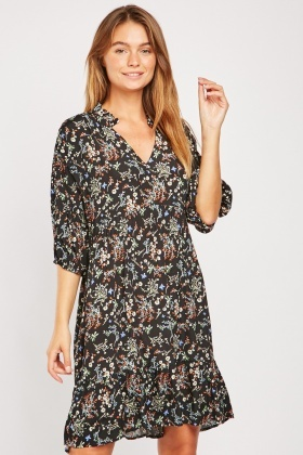 V-Neck Delicate Floral Print Dress