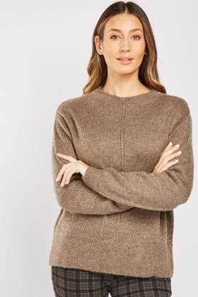 Casual Herringbone Knit Jumper