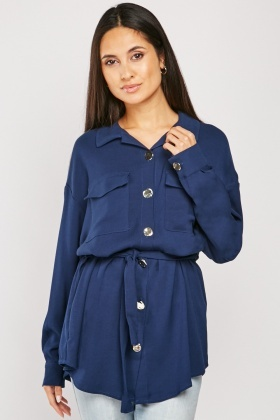 Flap Pocket Front Utility Shirt