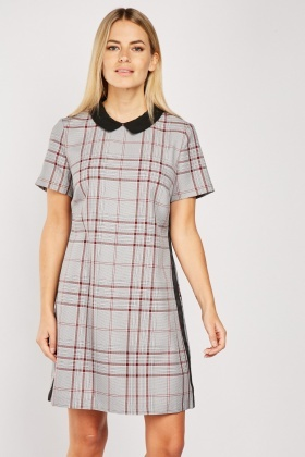 Peter Pan Collar Glen Check Dress