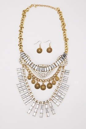 Rhinestone Statement Necklace And Earrings Set