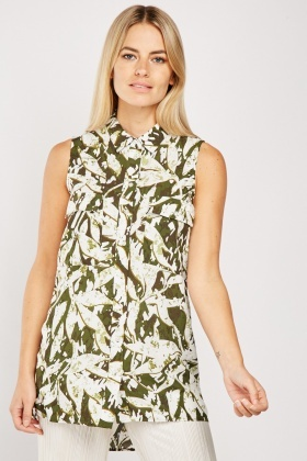 Sleeveless Camouflage Pattern Top