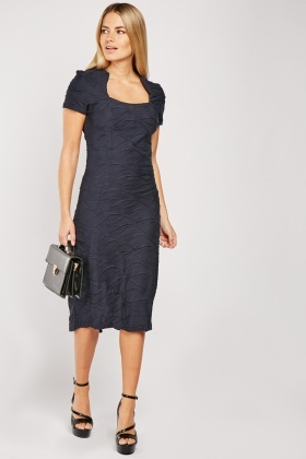 Textured Navy Midi Dress
