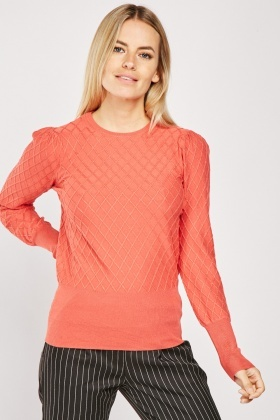 Diamond Pattern Knit Jumper
