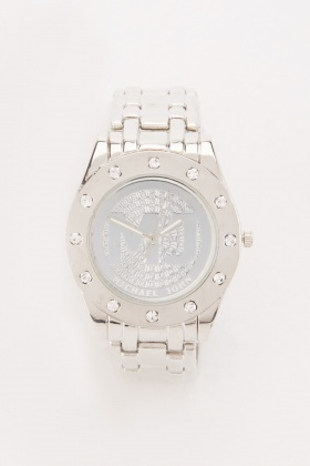 Encrusted Round Face Chain Watch