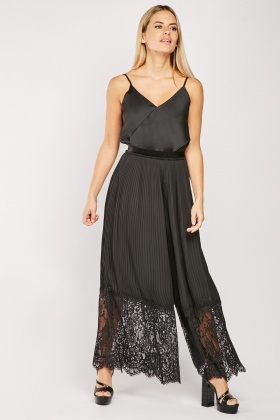 Lace Pleated Wide Leg Trousers