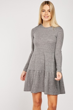 Speckled Rib Cotton Smock Dress