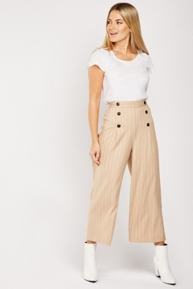 Straight Fit Striped Crop Trousers