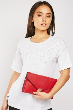 Faux Pearl Embellished Cotton T-Shirt