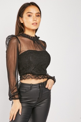 Lace Mesh Crop Top