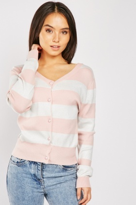 Lurex Striped Knit Cardigan