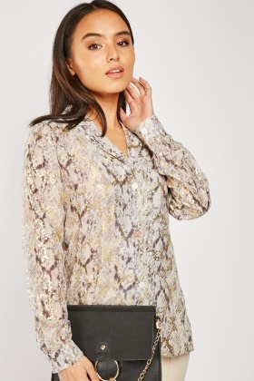 Metallic Printed Chiffon Shirt