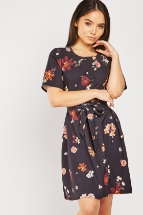 Belted Flower Print Dress