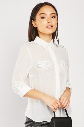 Faux Pearl Trim Shirt