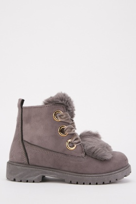 Fur Trim Kids Boots